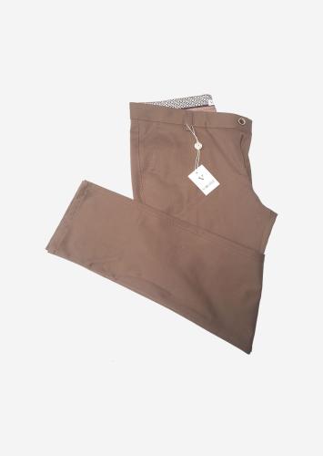 Tan slim fit chino trousers by vercini