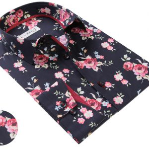 Black Shirt With Rose Pattern