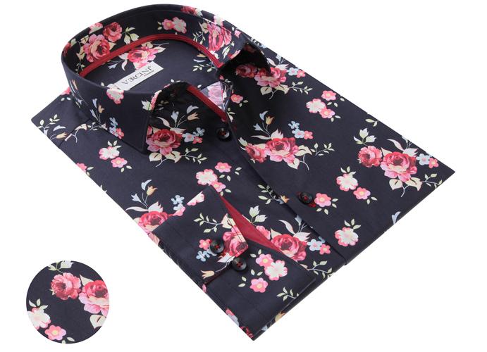 Black Shirt With Rose Pattern