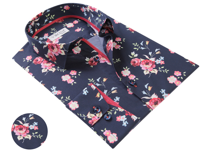 Vercini Navy Shirt With Small Roses