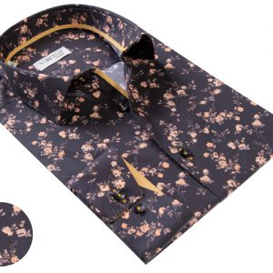Vercini Black Shirt With Small Rose Pattern