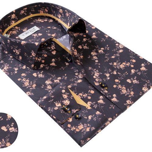 Vercini Black Shirt With Small Rose Pattern