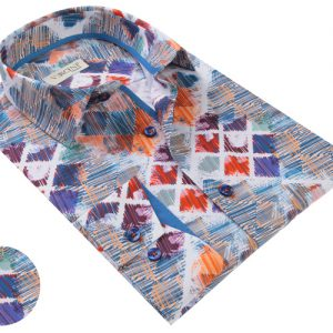 Vercini Shirt With Squares And Streaks