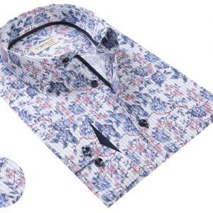 Vercini White Shirt With Light Blue Flower Patterns