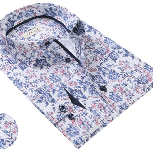 Vercini White Shirt With Light Blue Flower Patterns