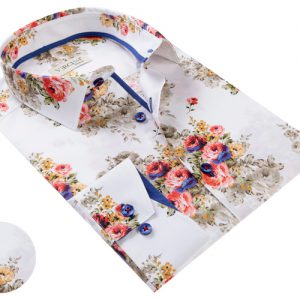 Vercini Shirt With Red And Blue Flowers