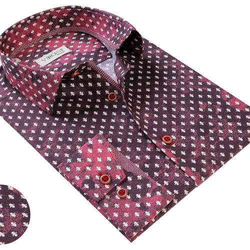 Vercini Burgundy Shirt With White Pattern
