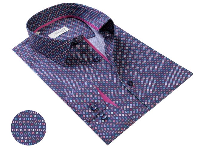 Vercini Purple Shirt With X Colorful Pattern