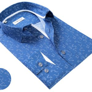 Vercini Royal Blue Shirt With White Shapes Pattern