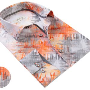 Vercini White Shirt With Gray And Red Streaks
