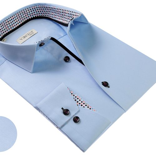 Vercini Light Blue Shirt With Colorful Cuff
