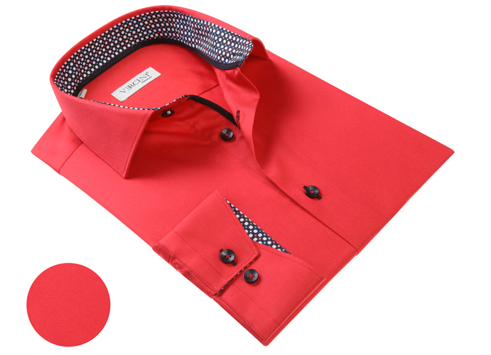 Vercini Red Shirt With Colorful Cuff