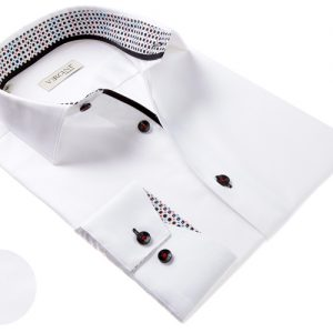 Vercini White Shirt With Colorful Cuff