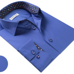 Vercini Blue Shirt With Colorful Cuff