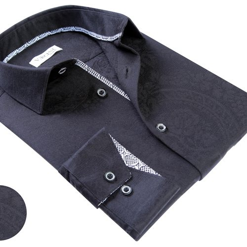 Vercini Black Shirt With Subtle Texture