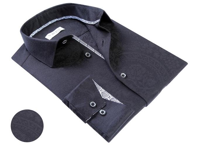 Vercini Black Shirt With Subtle Texture