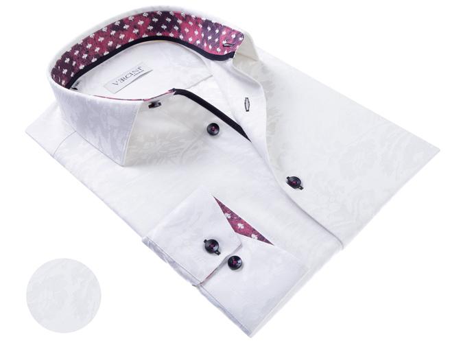 Vercini White Shirt With Flower Subtle Pattern