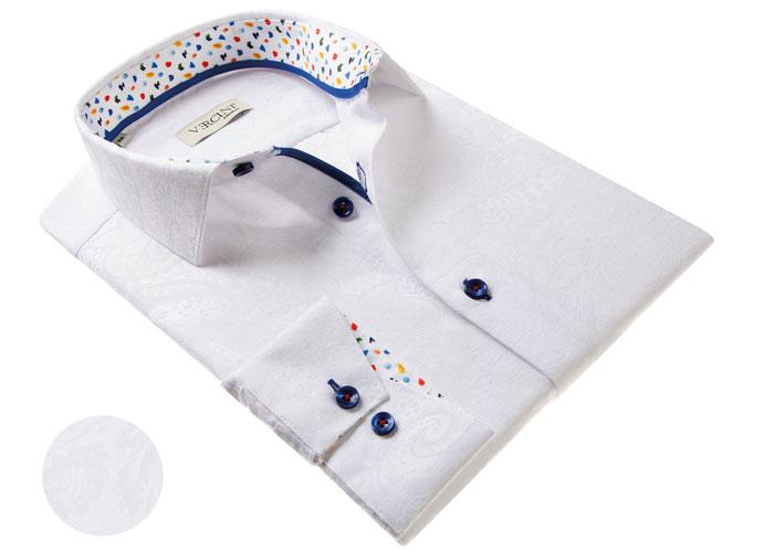 Vercini White Shirt With Soft pattern
