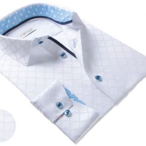 Vercini White Shirt With Light Blue Collar And Cuff