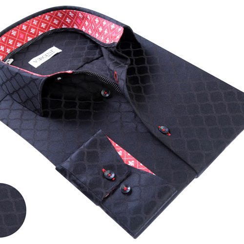 Vercini Black Shirt With Red Collar And Cuff