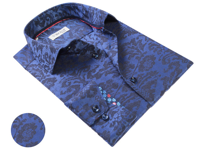 Vercini Shirt With Navy Pattern