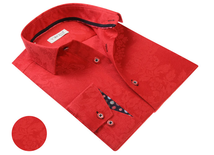 Vercini Red Shirt With Subtle Pattern