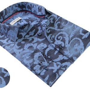 Vercini Shirt With Navy And Light Blue Pattern