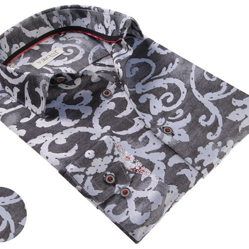 Vercini Black Shirt With Gray Pattern