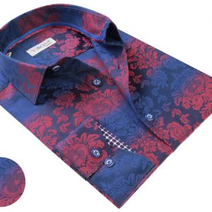Vercini Shirt Blue With Red Floral Pattern