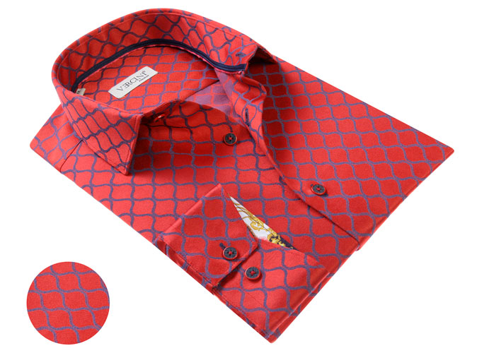 Vercini Red Shirt With Blue Print