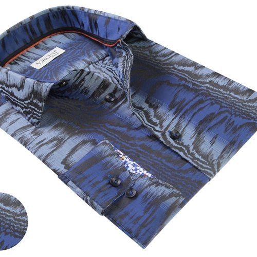 Vercini Blue Shirt With Black Stripes