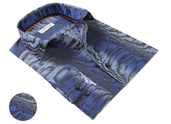 Vercini Blue Shirt With Black Stripes