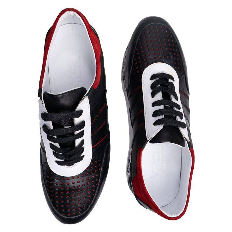 Black and Red shoe with camo pattern sole