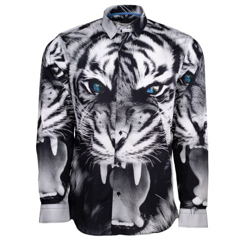 Black and white dress shirt with a tiger print