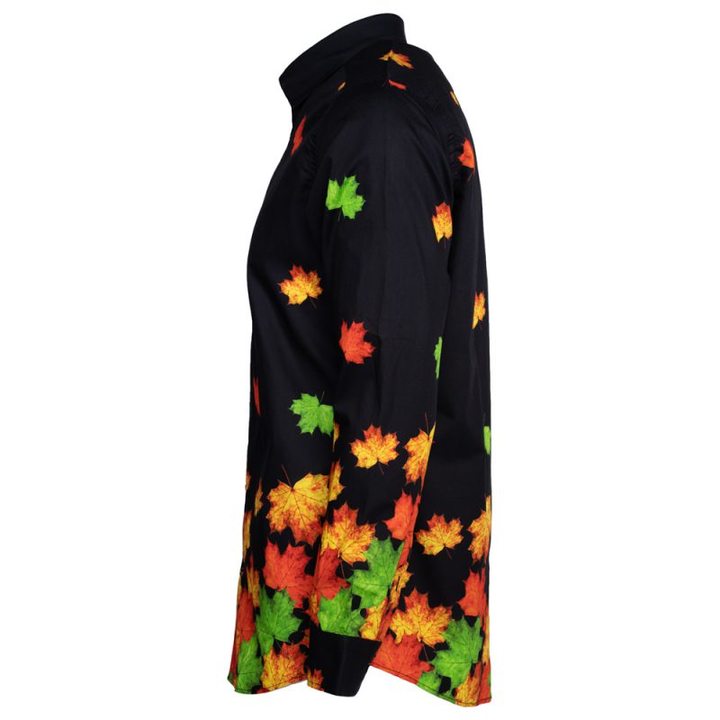 Black dress shirt with green and orange leafs side view