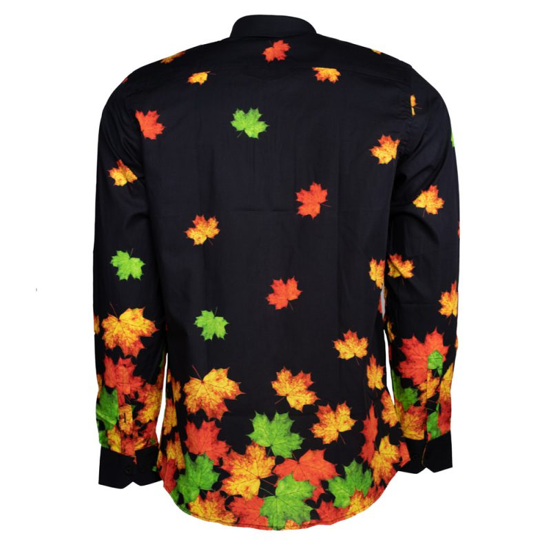 Black dress shirt with green and orange leafs back view