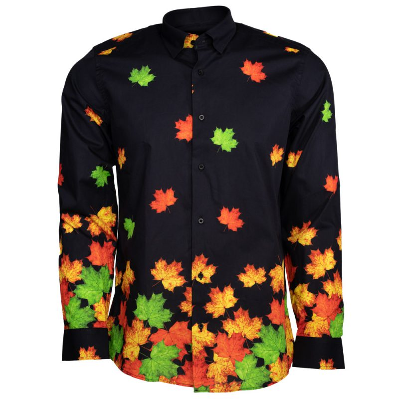 Black dress shirt with green and orange leafs