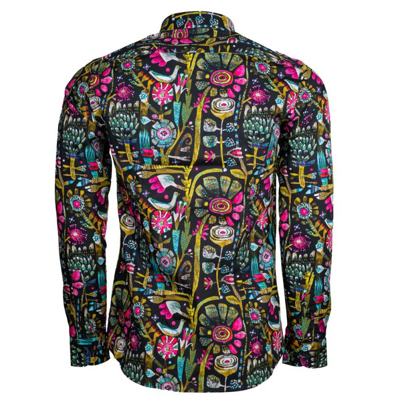 Black dress shirt with multi color flower style pattern back view