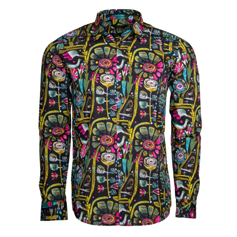 Black dress shirt with multi color flower style pattern
