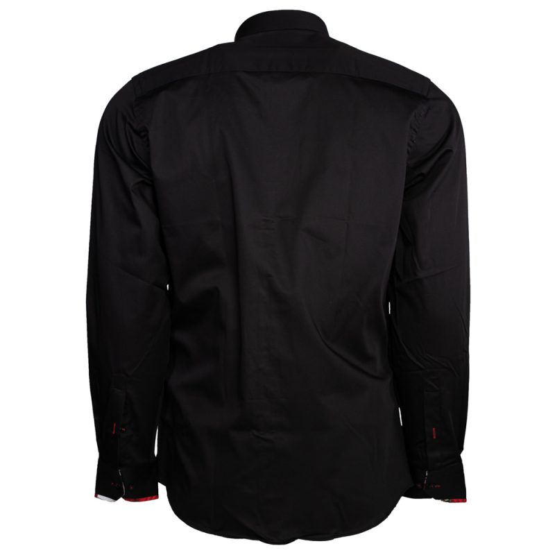 Black dress shirt with white and red collar back view