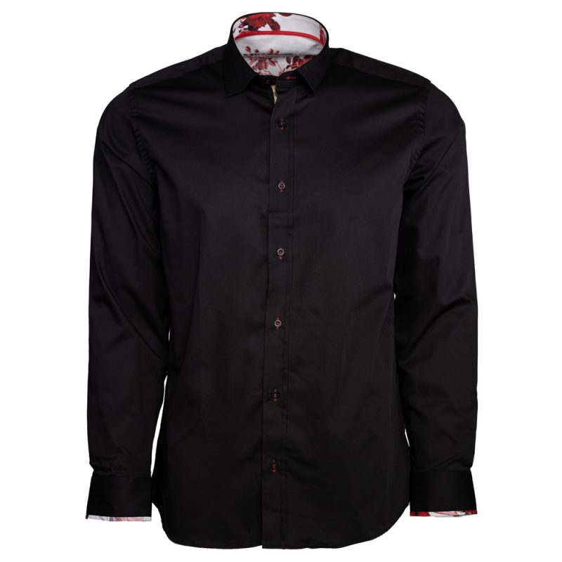 Black dress shirt with white and red collar