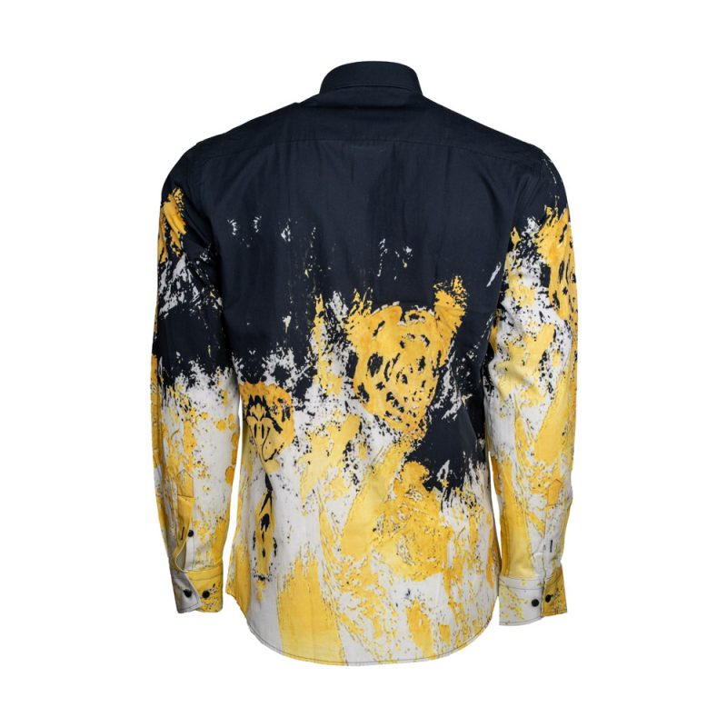 Black dress shirt with yellow and white patterns back view