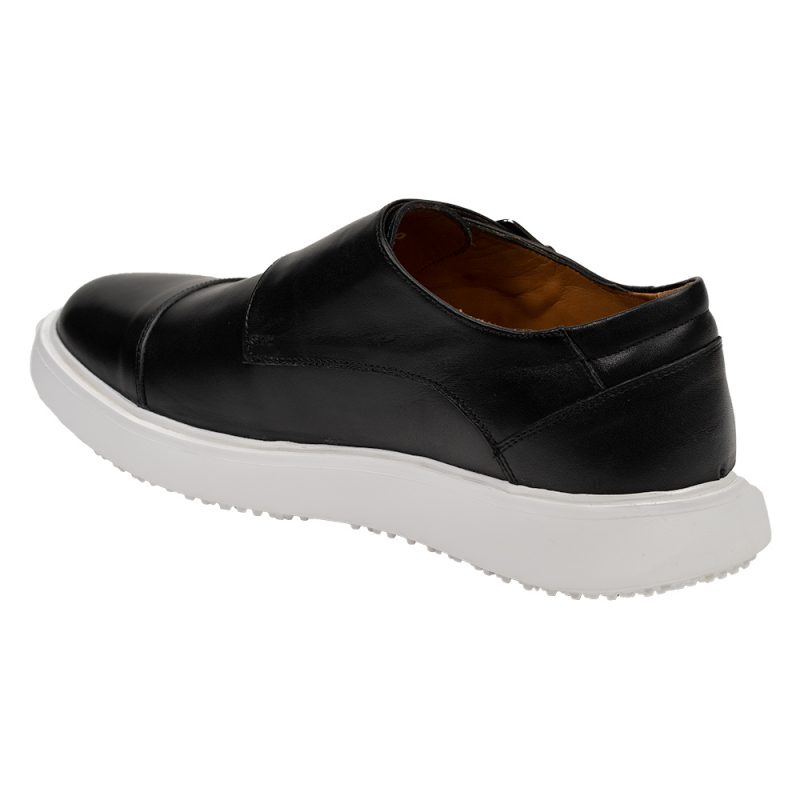 Black monk strap leather casual shoe
