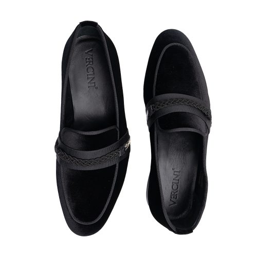 Black suede slip in with a knotted strap