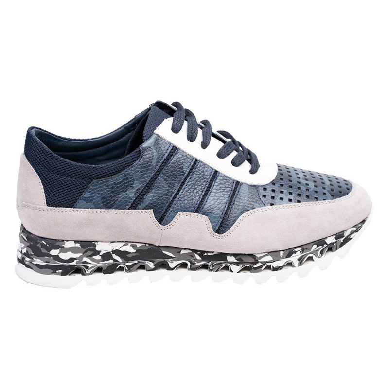 Blue and gray shoe with camo pattern sole