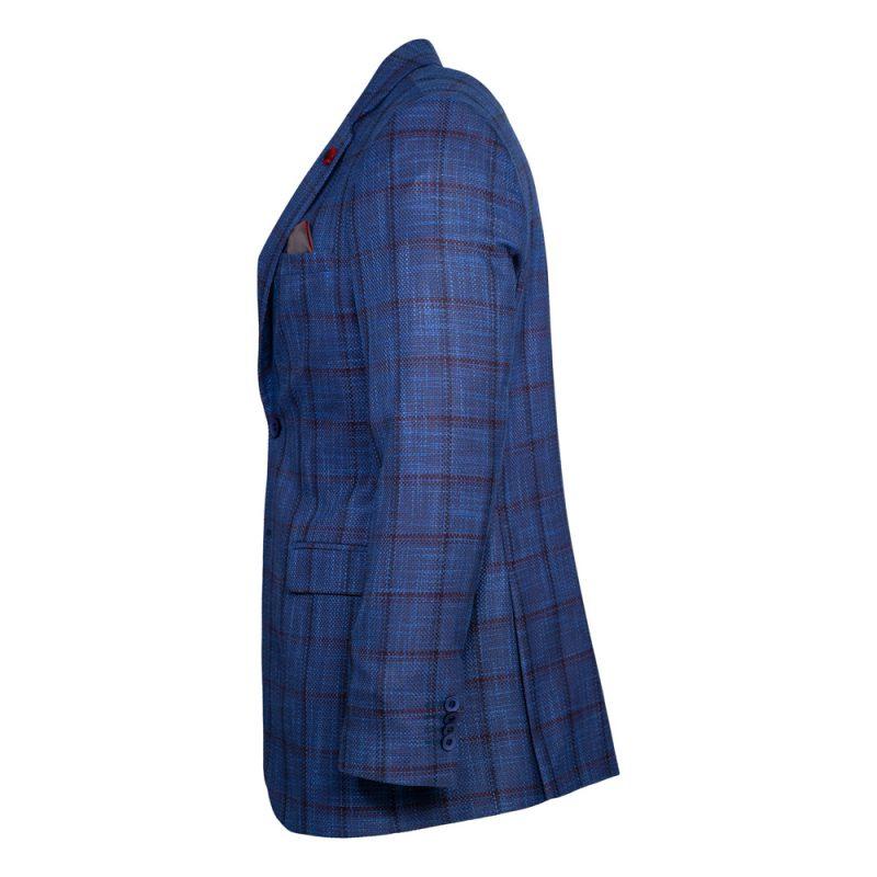 Blue blazer with a burgundy window pane-2