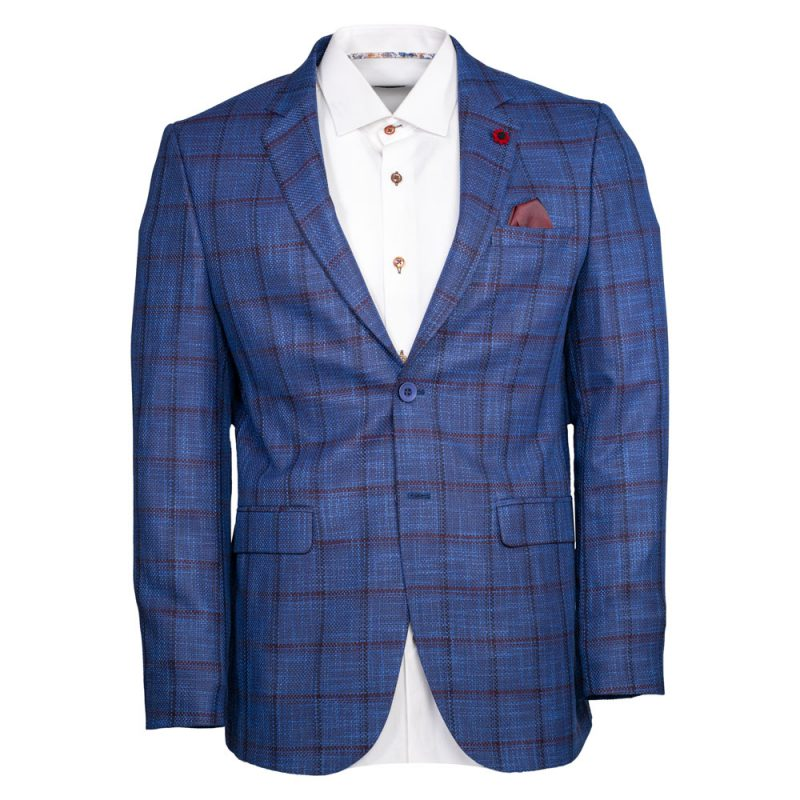 Blue blazer with a burgundy window pane