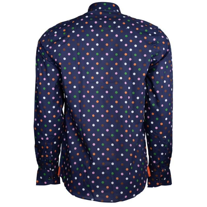 Blue dress shirt with multi color polka dots back view