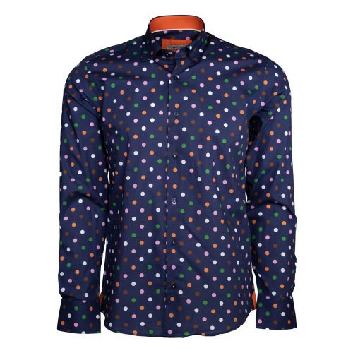 Blue dress shirt with multi color polka dots