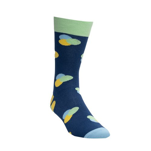 Blue socks with yellow and green